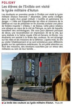 Les élèves de l'ENILBIO ont visité le lycée militaire d'Autun